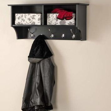 "Black 36"" Wide Hanging Entryway Shelf"