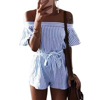 Off Shoulder Women Sashes Plaid Rompers Casual Short Sleeve Combinaison Femme Playsuits Overalls