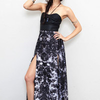 Strapless Maxi Dress with Leather Bustier and High Slits