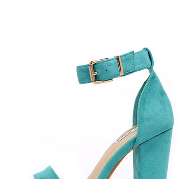 Formal Opinion Turquoise Suede Ankle Strap Heels