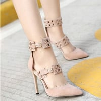 Women Fashion Suede Hollow Rivet Buckle Band Shallow Mouth Pointed Toe Sandals Heels Shoes