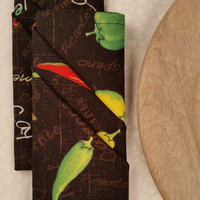 """PEPPERS Fabric Napkin 16 1/2"""" Cotton Wilmington Prints School lunch Barbeque Picnic To Go Basket Choose from Pictures or Names design"""