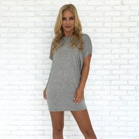 Simply Crossed Jersey Tunic in Grey
