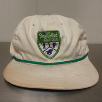 Vintage Tanglewood Golf Club Strap Back Dad Hat Clemmons NC North Carolina Corded White Green Made In USA Made By Cali - Fame