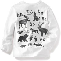 """Old Navy Long Sleeve """"Walk On The Wild Side"""" Graphic Tee"""