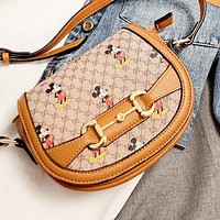 GUCCI x Disney Cute Mickey Mouse Women Shopping Bag Leather Shoulder Bag Crossbody Satchel
