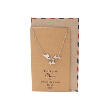 Ardelle Mother's Day Gifts, Mom Bird Necklace with 2 Baby Birds Thank You Card