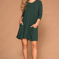 Catching Leaves Swing Pocket Dress - Hunter Green