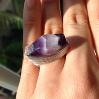 Amethyst crystal ring - size 6 1/2  - purple gemstone - silver wire wrapped - handmade ring  - any size - cocktail ring - chunky ring
