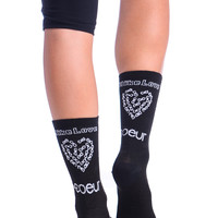 Women's Cycling/Run Socks - Bike Love
