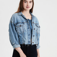 AE Raw Hem Denim Jacket, Blue