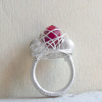 Red Statement Ring:  Sterling Silver Wire Wrapped Jewelry, Bold Crimson Crystal Stardust Glitter