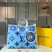 Kuyou Lv Louis Vuitton Gb2974 Onthego Blue Print Handbags M44571 41.0x34.0x19.0 Cm