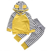 2Pcs Set New Adorable Autumn Newborn Baby Girls boys Infant Warm Romper Jumpsuit playsuit Hooded Clothes Outfit0-3 years