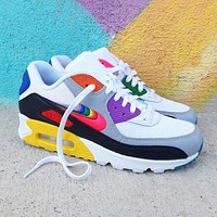 Nike Air Max 90 BeTrue rainbow color block half palm cushioned sneakers shoes