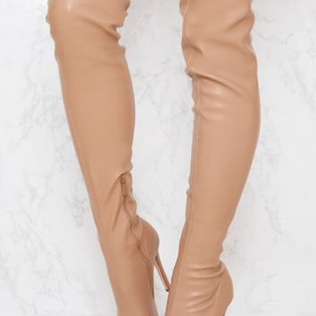 Beige PU Pointed Thigh High Boot