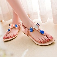 Rhinestone Flats Sandals Flip Flop Beach Shoes Woman