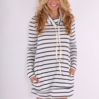 On the Boardwalk Dress - Navy and Ivory