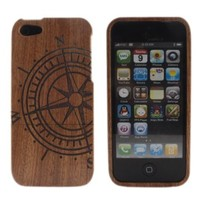 BONAMART ® Compass Retro Real Natural Bamboo Wood Wooden Hard Case Cover for iPhone 5 G 5G 5th