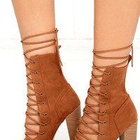 Sierra Tan Lace-Up High Heel Booties
