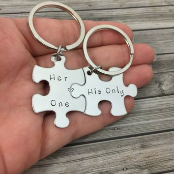 Boyfriend Gift, Couples Keychains, Her One His Only Puzzle Keychains , Anniversary Gift