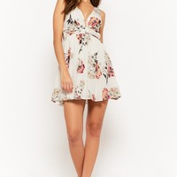Crinkled Floral Plunging Mini Dress