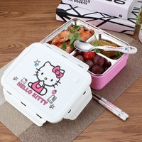 Cartoon Hello kitty/Deraemon Lunch Boxes Portable Food Container Stainless Steel Kids Outdoor Picnic Lunchbox Dinnerware Set 6D