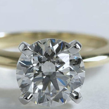 0.93ct G-VS2 Round cut Diamond Engagement ring 18kt Yellow Gold  JEWELFORME-BLUE GIA  certified