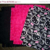 """Hello Kitty fabric flannel rag quilt kit die cut fringed squares batting 45.5""""x58.5 quilting sewing"""
