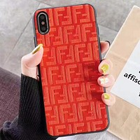 Fendi Fashion New More Letter Leather Women Men Protective Cover Phone Case