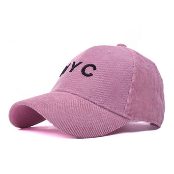 Strapback Cotton Baseball Cap with Embroidery Letter