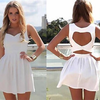 White Sleeveless Back Heart Shape Cut Out Skater Dress