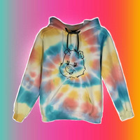 Carebears Tie Dye Rainbow Sweatshirt Hoodie Womens Girls Easter Gift Kid Tumblr Her Adult Size Small 80s 90s Toys Cartoons Festival Outfit