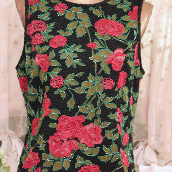 "1970s Beaded Rose Top, Silk Floral Shirt, 70s Bohemian Blouse, Excellent Condition, 40"" Bust Tunic, Elegant Wear, Pink Green Boho Top, Large"