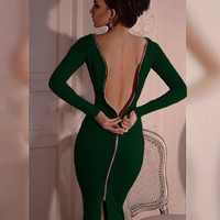 Club Sexy Zippers Knit Long Sleeve Hot Sale One Piece Dress [4970285124]