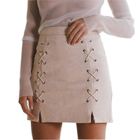 2016 Explosion LWomens ace Up Leather Suede Pencil Skirt Winter Cross High Waist Skirt Zipper Split Bodycon Bandage Skirts GV456