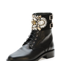 Crystal-Cuff Leather Combat Boot, Black