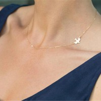 Delicate Gold Tone Dainty Dove / Bird Side Charm Necklace