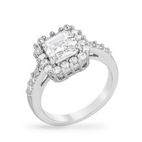Pave Asscher Ring, size : 10