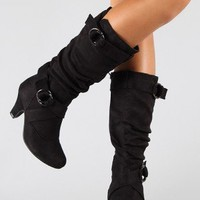 Auto-1 Strapped Slouchy Knee High Boot