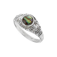 Abalone Stone Ring - Green