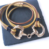 Equestrian wrap Bracelet Horse jewellery Leather and Metal Mustard Yellow Bronze Rose Gold magnetic clasp Snaffle Bit