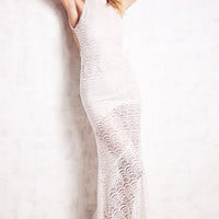 White Halter Backless Lace Fish Scale Pattern Maxi Dress