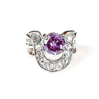 Vintage Rhinestone Cocktail Ring Center Purple Stone U Shape Size 6.5