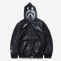Bape Aape High quality new fashion shark tiger print leather hooded long sleeve top coat jacket Black