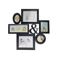 "27.75"" Black Multi-Sized Photo Picture Frame Collage Wall Decoration"