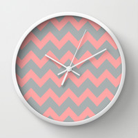 Chevron Gray Coral Pink Wall Clock by BeautifulHomes | Society6