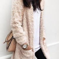 New Beige Pockets Fuzzy Long Sleeve Casual Cardigan Coat