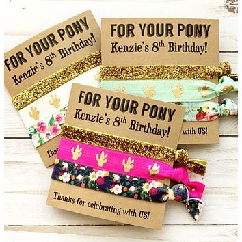 FOR YOUR PONY Girls Birthday Party Favors | Hair Tie Favor Girls Birthday