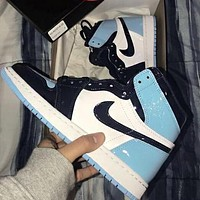NIKE AJ 1 Air Jordan 1 Fashionable Women Men Sport Basketball Shoes Sneakers Black&White&Blue